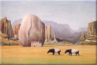 Landscape of dream with two tapirs